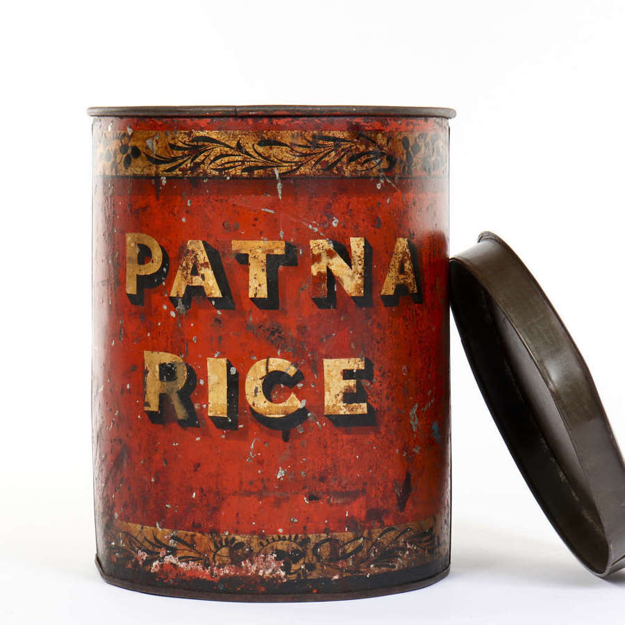Toleware grocers shop tin for Patna Rice