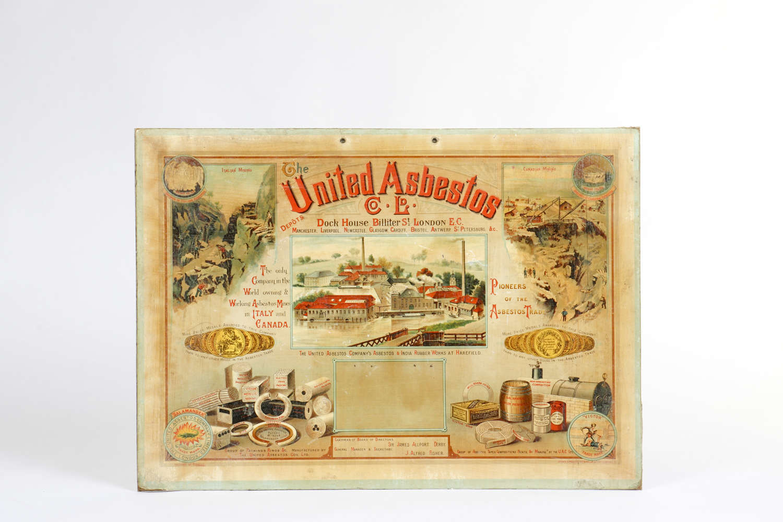 Original advertising showcard for The United Asbestos Co Ltd