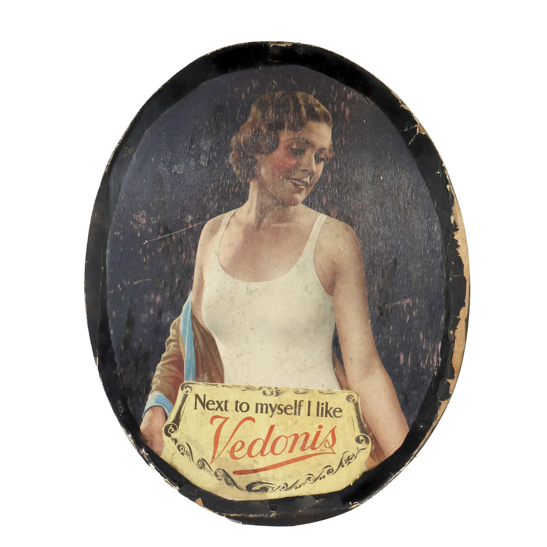 Original vintage advertising showcard for Vedonis