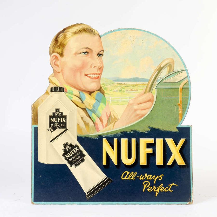Original vintage advertising showcard for Nufix
