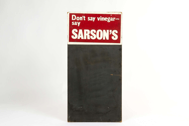 Vintage Sarson's Vinegar chalk board