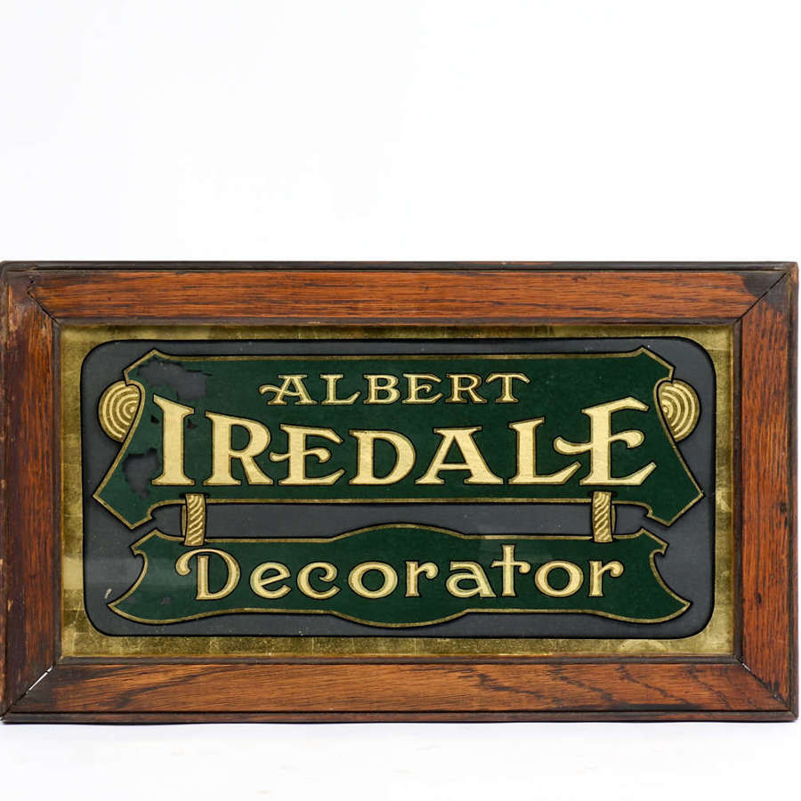 Reverse-painted glass advertising sign for Albert Iredale - Decorator