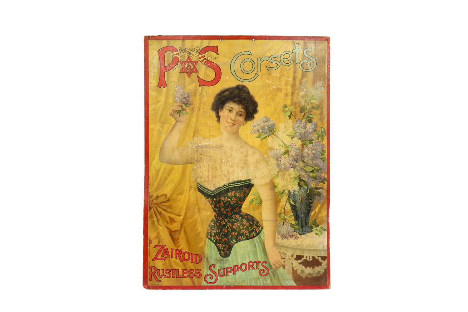 Original advertising showcard for P&S Corsets