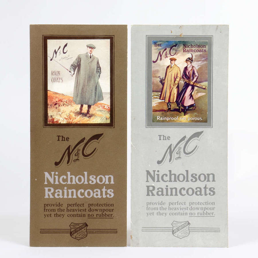 A pair of original advertising showcards for Nicholson Raincoats