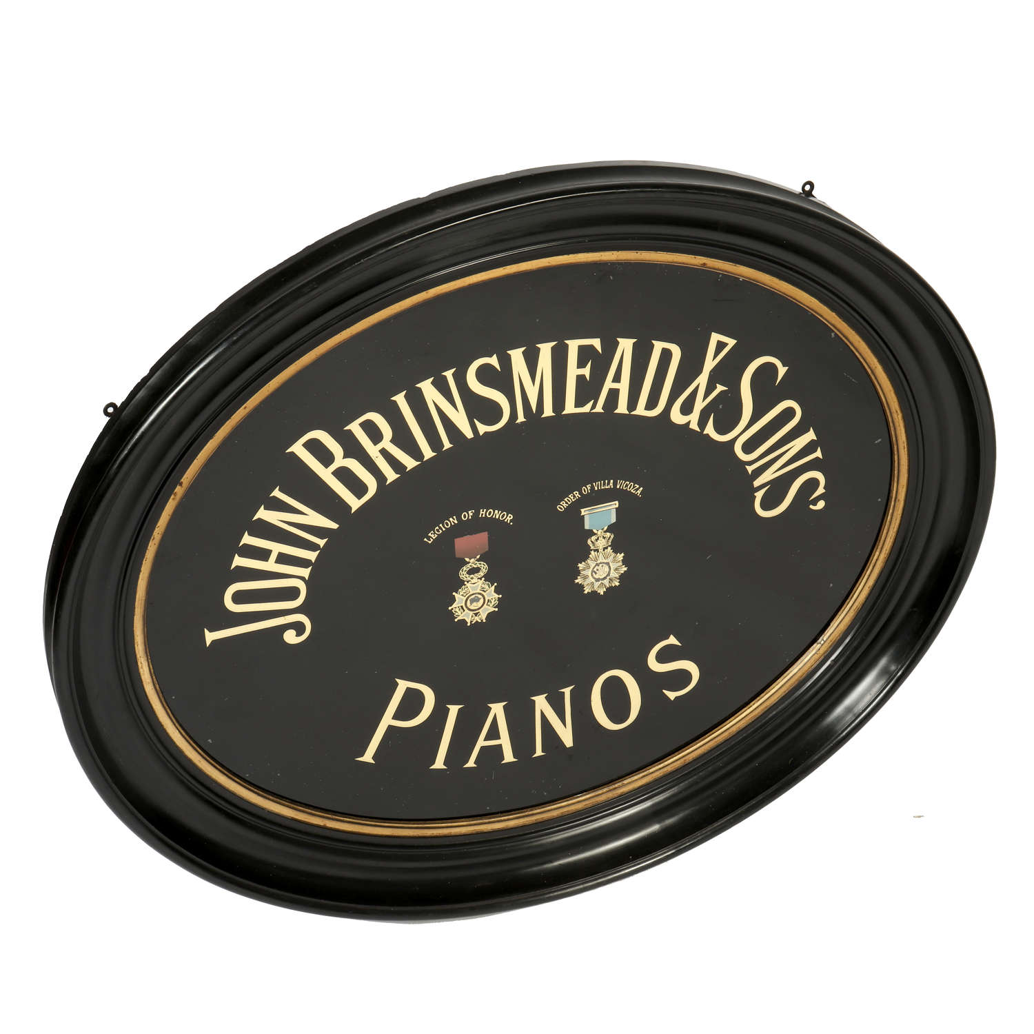 Early 20th century glass sign for John Brinsmead & Sons' Pianos