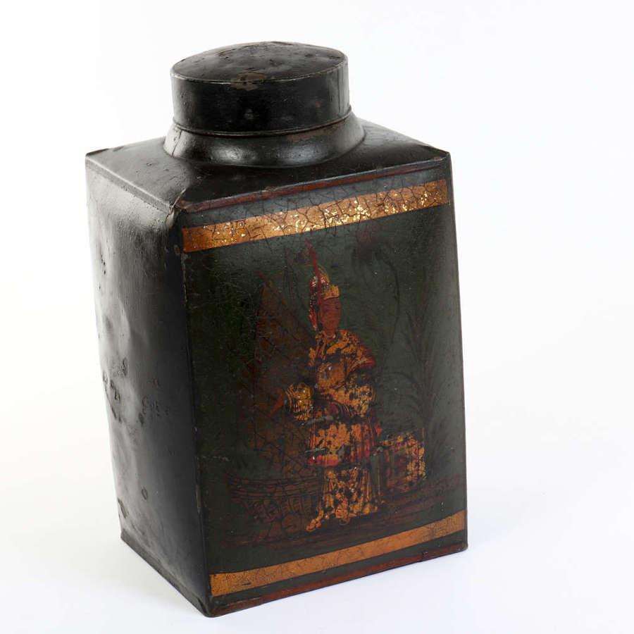 Early 20th century toleware tea tin