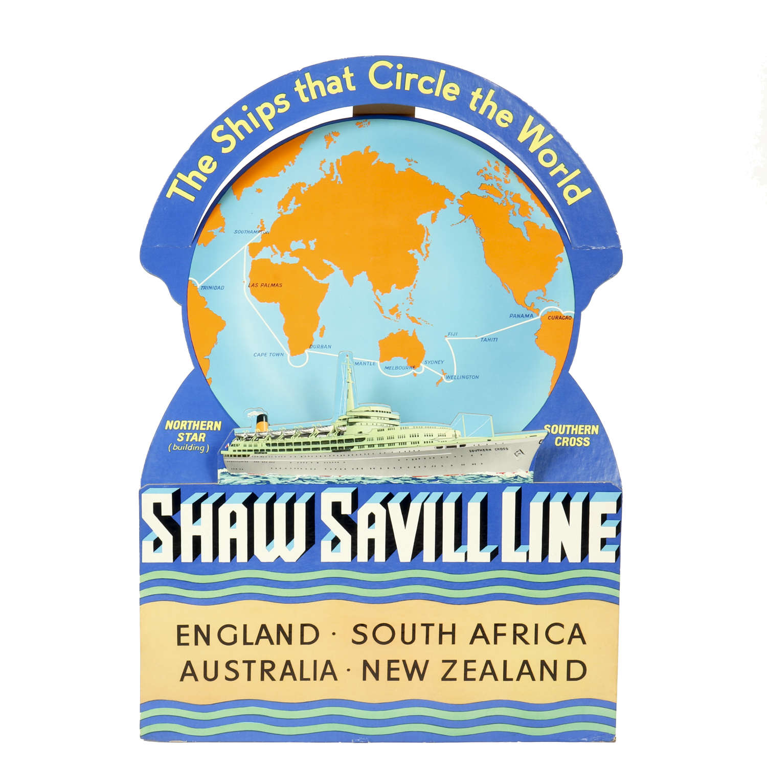 An original vintage advertising showcard for the Shaw Savill Line