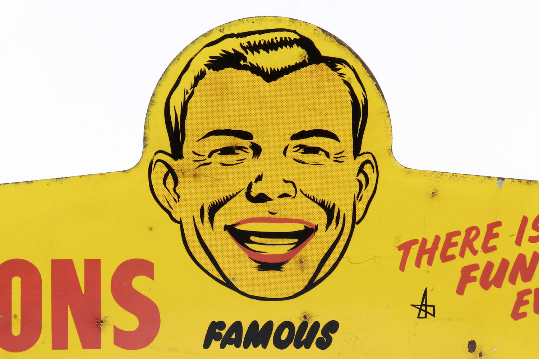 Original tin advertising sign for Ellisdons Jokes, Tricks & Novelties
